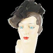 RESERVED 1940s Vintage Hat Brown Felt Tilt Tipster with Fur Trim New York Creations Sz 20