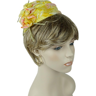 1960s Vintage Hat Bright Yellow Floral Fabric Draped Pixie by Mr John - Caprice Line