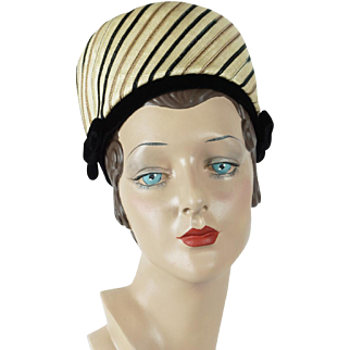1960s Vintage Hat, Lilly Dache Pillbox,  Dachettes High Rise Pillbox Hat