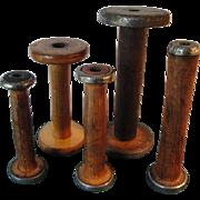 Wood Spool For Yarn Spinning Bobbin Thread Tool, Country Decor
