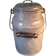 Gray Granite-Ware Large Milk Can With Original Lid And Wood Handle