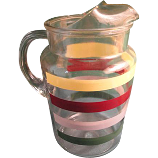 Anchor Hocking Collectible Striped Band Pitcher With Ice Lip