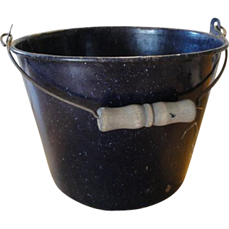 Cobalt Dark Blue Granite Ware Berry Or Water Bucket With Bail Handle