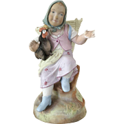 German Bisque Porcelain Figure of a Girl - ca: 1890-1910