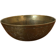 Chinese Brass Etched Bowl - ca: 1800's