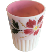 Tumbler -  White w/Pink Interior - Hand Painted Flowers