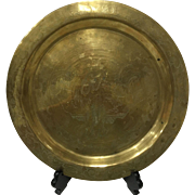 "Chinese Etchings Brass Tray - 12"" diameter"