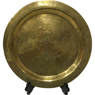 "Chinese Etchings Brass Tray - 12"" diameter"