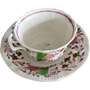 Pink Luster Cup & Saucer - Flowers & Berries