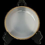 White Opalescent Glass w/Gold Trim