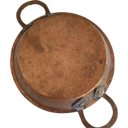 Antique Copper Pan with Large Handles