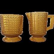 Amber Glass Pedestal Cream Pitcher & Sugar Bowl - ca:1900