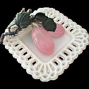 Milk Glass Square Dish and Rose Quartz Grapes