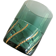 Tumbler - Turquoise w/ Gold Swirl Beads -ca: 1800's