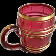Cranberry Barrel Mug with Gold Bands