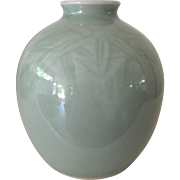 Chinese Celadon Bamboo Leaf Small Vase
