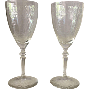 Two Long Stemmed Wine Glasses - ca: early 1900's