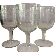 Three Etched Glass Goblets