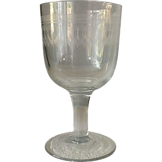 Goblet with etched design - ca: 1800/1900's