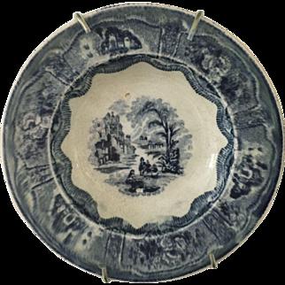 "Flow Blue - Scottish ""Cochran"" Dish - ca:1846-1896"