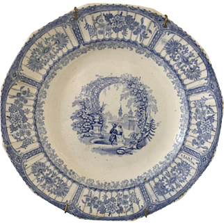 """Blue & White -  """"Bower"""" plate - ca: 1800's"""