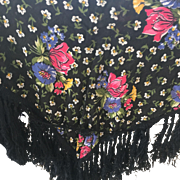 Shawl - Black with Multi Colored Flowers