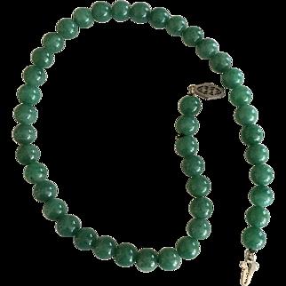 """Jade Necklace - 15"""" -  ca: 1900's"""
