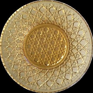 """Sandwich Glass Amber Plate - 4-7/8"""" diameter"""