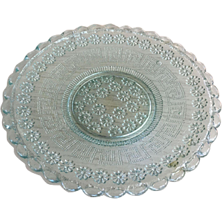 """Sandwich Glass Turquoise Plate 4-7/8"""" D"""