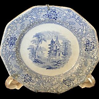 Davenport Antique Blue & White Plate - ca: 1800's