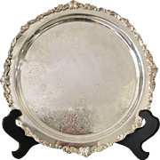 """Large Round Footed Serving Tray -15"""""""