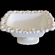 "White Milk Glass Bowl/Vase with Pedestal Base - 7-1/4"" Length"
