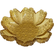 """Amber """"Daisy and Button"""" Bowl - ca: 1894"""