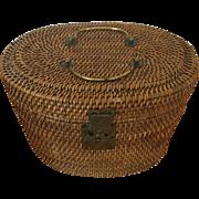 Chinese Wicker w/ Brass - Tea Basket ca:1860-1900
