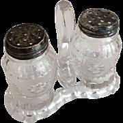 Roman Rosette Salt & Pepper w/Glass Caddy - ca: 1875-1898