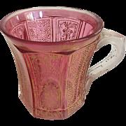Bohemian Faceted Gilt Ruby Glass Mug -ca: 1840-1860