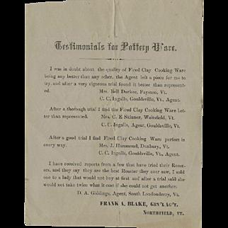 1860s-70s Vermont 'Testimonials Handbill for Pottery Ware'