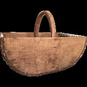 """Large English Wooden Trug Basket 22"""" Handmade"""
