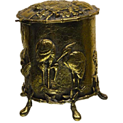 English Tea Caddy Brass, Silver Lined, Cranes Herons Chickens Dragons CrabsBird
