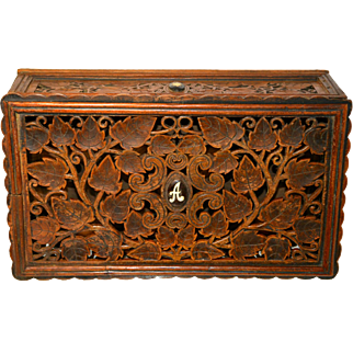 Antique Hand Crafted Elaborate Filigree Carved Teak Box w Rosewood Inlay
