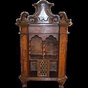 "Italian Cupboard Cabinet Antique 18th Century Walnut Burl Barley Twist 42"" Tall"