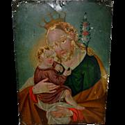 "Antique 19th C Italian Retablo Icon Saint & Child Painting on Metal 14"" x 10"""