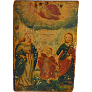 17th C Icon Hand Painted on Wood Jesus, Mary & Joseph