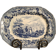 19th Century English Transferware Blue and White Platter