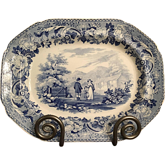 19th Century English Transferware Blue and White Platter