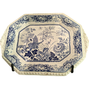 English 19th Century Blue & White Transferware Royal Persian Pottery Platter