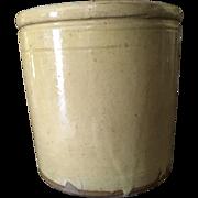French Yellow Glaze Terra Cotta Confit Pottery Pot