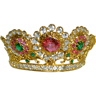 Antique 19th c. French Corona Crown Gilded Catholic Santos Madonna Virgin Mary