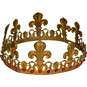 "Antique 19thc French King Corona Crown 3 Kings 6.5"" 33 Rubies Santos Virgin Mary"