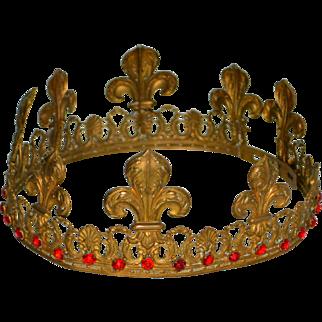 "Antique 19thc French King Corona Crown 3 Kings 6.5"" 33 Rubies Santos Virgin Mary"
